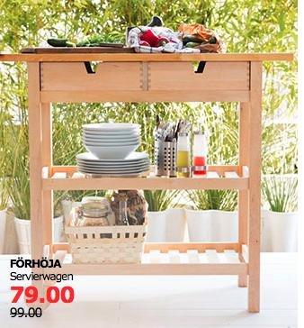 """[Ikea] Servierwagen für die Küche ab 39,99€, z.B. """"FÖRHÖJA"""" aus Birke (100x43cm) für 79€ statt 99€"""