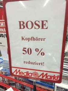 [Lokal MM Saarlouis] 50 % Rabatt auf Bose Kopfhörer, z.B. SoundTrue Around Ear II iOS&Android für 84,50 €, SoundLink Bluetooth On Ear 114,50 €, SoundTrue On Ear iOS 67,50 €, SoundTrue On Ear für 67,50 €