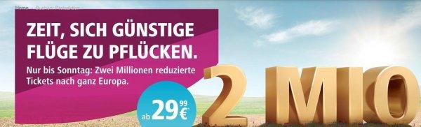 Eurowings (ehemals Germanwings): 2 Millionen Tickets reduziert. Buchen bis 10.04.2016, bis 31.03.2017 fliegen, (ab 29.99€)