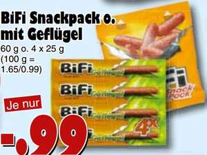 [JAWOLL/HAFU] BiFi Geflügel (4x25g) oder BiFi Snackpack 60g für 0,99€