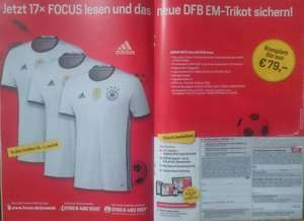 17x Focus + DFB EM 2016 Trikot (Home) in M, L, XL für insg. 79€ (Trikot für 12,70€)