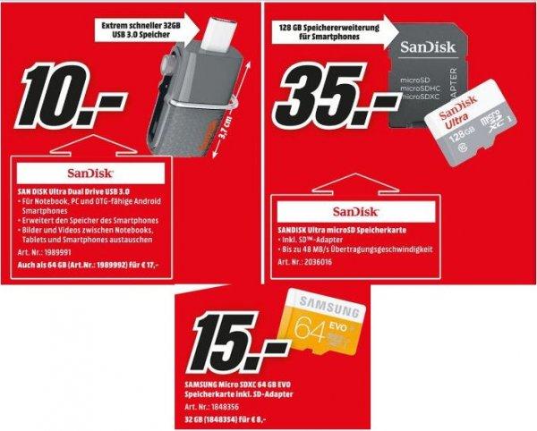 [Mediamarkt) Speicherangebote...zb.SAMSUNG microSDXC EVO + Adapter MB-MP64DA-EU microSDXC 32/ 64 GB für 8,-€/15,-€ etc..Versandkostenfrei