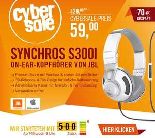 Cyberport /  CyberSale JBL Synchros S300 I Weiß On-Ear Kopfhörer (idealo 125€ // über 50% Ersparnis)