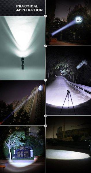 Dodocool Mini 5 Mode 1000LM LED Taschenlampe Einstellbarer Fokus Zoom Licht 18650  )(1000LM Schwarz)