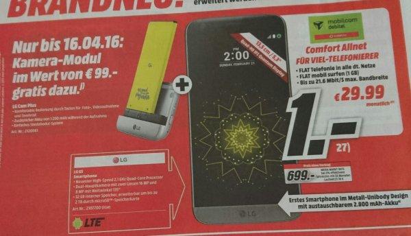 LG G5 im Vertrag: Allnetflat, 1 GB bei 21,6 Mbit/s für 29,99€/Monat + 1€ Zuzahlung für das Smartphone