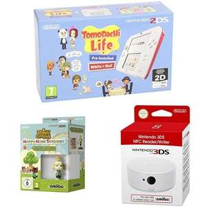 Nintendo 2DS weiß-rot + Tomodachi Life + Animal Crossing: Happy Home Designer + Melinda amiibo + Nintendo 3DS NFC Reader/Writer für 133,16€ bei Amazon.es
