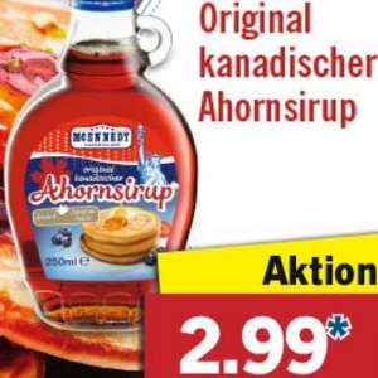 Original kanadischer Ahornsirup 250ml für 2,99 € bei [Lidl]