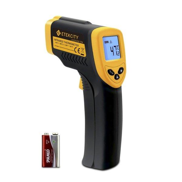 @Amazon: Laser Infrarot Thermometer Pyrometer, - 50 bis + 380 °C, LCD Beleuchtung, Zertifikat: CE, RoHS, Gelb Schwarz für 15,78€ mit Prime