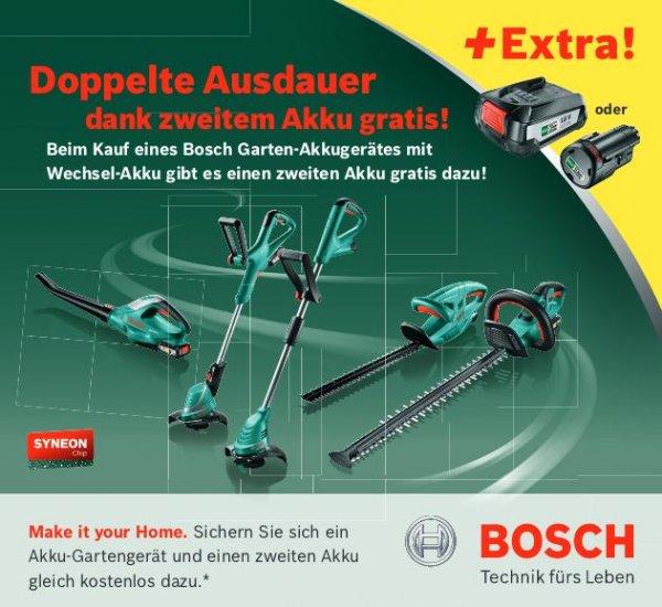 [BOSCH Gartengeräte] Zweiten Akku gratis beim Kauf eines Bosch Garten-Akkugerätes (18V oder 10,8V)