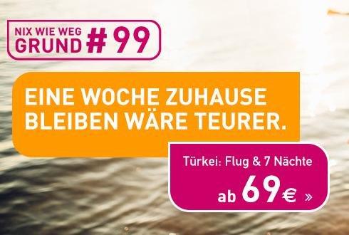 """""""Eine Woche zuhause bleiben wäre teurer"""": Türkei / Alanya 7 Tage und Flug für 2 Personen (69€/Person am 15.04.) --> Option auf Gewinn ;-)"""