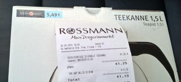 [Rossmann] Teekanne 1,5 L für 1,25€
