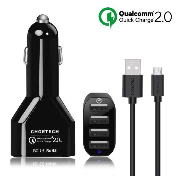 Quick Charge 2.0 KFZ Auto Ladegerät CHEOTECH KFZ 4 Port USB 51W