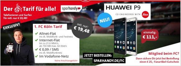 [Sparhandy] Huawei P9 im 1.FC Köln Tarif für 578,52€ + 100€ Pixum Gutschein --> 0,40€/Monat für den Vertrag!