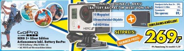 GoPro HERO3+ Silver Edition inkl. 2. Akku (Bacpac) / Euronics XXL lokal