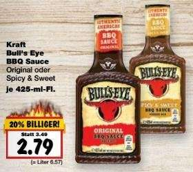 [Bundesweit, Kaufland] KW15: Bull's Eye BBQ Sauce 425-ml-Fl. -34% (Angebot + Coupon ab 2Stk)