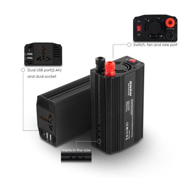Wechselrichter/Spannungswandler für das Auto bis zu 300W und 2 USB Ports