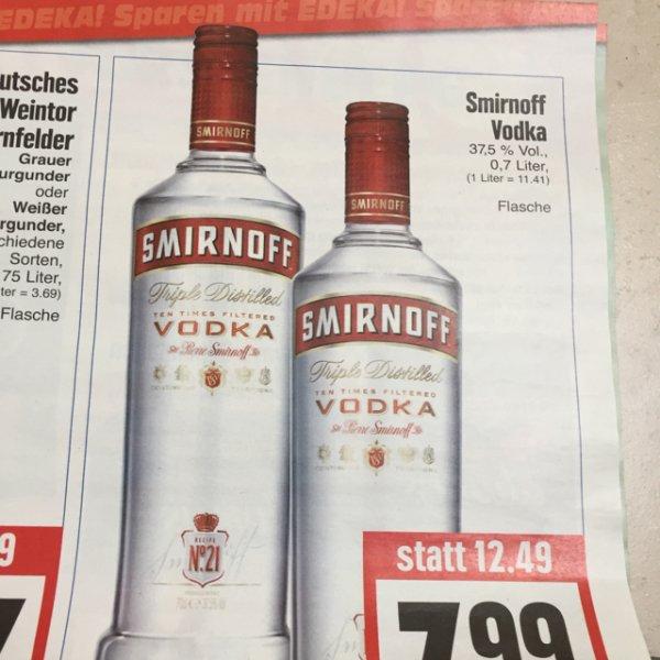 Smirnoff Vodka 0,7 Liter für 7,99€ @ edeka hessenring