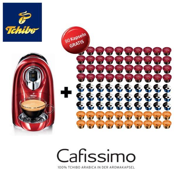 *Wieder da* Tchibo Cafissimo COMPACT Kaffee Kapselmaschine in rot mit 90 Kaffeekapseln 39,90 @eBay
