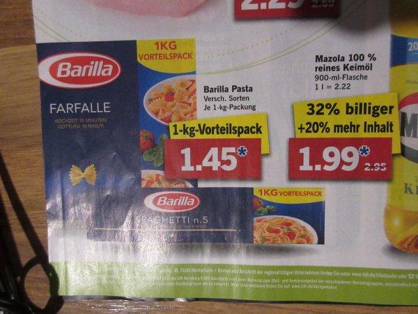 Lidl - Barilla  Pasta Nudeln 1 Kg für 1.45 Euro