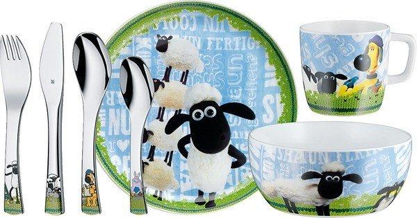 """[Müller] WMF """"Shaun das Schaf"""" 7teiliges Kinderbesteck (Teller, Tasse, Müslischale + Besteck) für 24,99€"""