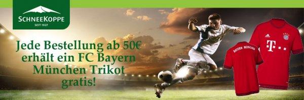 Schneekoppe Onlineshop Jede Bestellung ab 50€ erhält FC Bayern München Trikot gratis.
