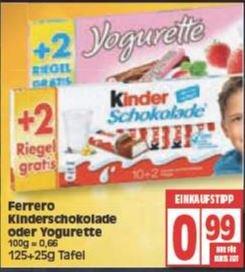 (Edeka, Reichelt Berlin) Kinder Schokolade 10+2 Riegel 150g für 99 ct 11.04-16.04
