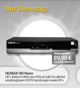 Dienstag - HUMAX HD-NANO, HDTV Satelliten Receiver inkl. HD+ Karte im Wert von 50€ inklusive für nur 89,90€ inkl. Versand bei MeinPaket.de  (Idealo: 105€)