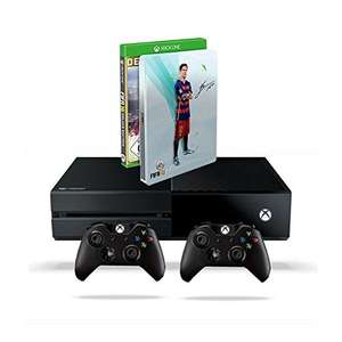 Xbox One 500 GB Konsole (2015) + FIFA 16 - Deluxe Edition inkl. Steelbook + 2. Xbox One Wireless Controller (2015) für 349,97€