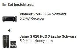 (Redcoon) Pioneer VSX-830-K sw. + Jamo S 626 HCS3 sw. (5.2-AV-Receiver + Heimkinosystem) --> 32,5% unter idealo
