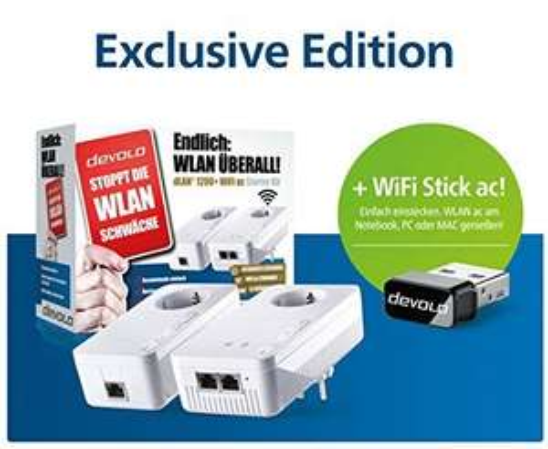 [Amazon] Devolo dLAN 1200+ WiFi AC Starter Kit + WiFi Stick ac