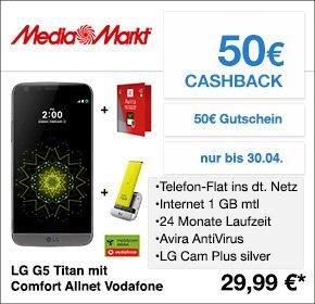 LG G5 im Vertrag: Allnetflat, D2 mit 1 GB, D1 mit 500MB bei 21,6 Mbit/s für 29,99€/Monat + gratis Kamera Modul + 50€ Cashack + 50€ Mediamarkt Gutschein