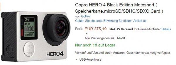 GoPro HERO 4 Black Motorsport 375,19€ bei Amazon - Idealo: 428,00€