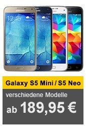 Samsung Galaxy S5 mini oder S5 Neo für 184,95 € bzw. 254 € @allyouneed