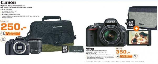 [Lokal Saturn Stuttgart] Nikon D 5200 Kit (18-55mm VR II) inc.Nikon Kameratasche und 16GB Speicherkarte für 350,-€ oder Canon EOS 1200D DSLR-Kamera KIT EF-S 18 - 55mm DCIII Objektiv 18 Megapixel +Kameratasche und 8GB Speicherkarte für 250,-€
