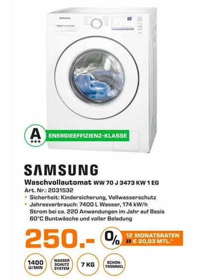 (Lokal Saturn Osnabrück) Waschmaschine Samsung WW70J3473KW 7kg A+++ 1400U/min für 250€ 30% unter idealo