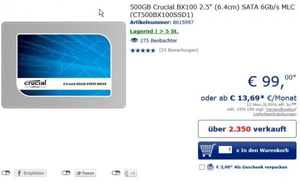 [Mindfactory Mindstar] 500GB Crucial BX100 SSD für 106,99€