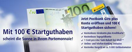 100€ für Postbankkonto Girokonto eröffnung einsacken