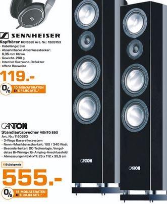 [Saturn HH + Norderstedt] Standlautsprecher Canton Vento 890 DC schwarz (180/340 Watt)