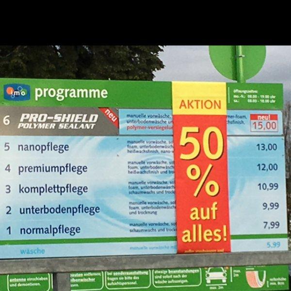 [LOKAL WI] 50% auf alles bei der Imo Waschstraße in Wiesbaden-Schierstein