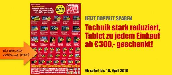 [Lokal in Essen] Medion Fabrikverkauf, für 300 € einkaufen und ein LiveTab16 GB Geschenkt bekommen
