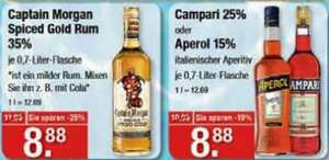 [V-Markt] Captain Morgan Spiced Gold 35% / Campari 25% / Aperol 15%, je 0,7l für 8,88€ - in München