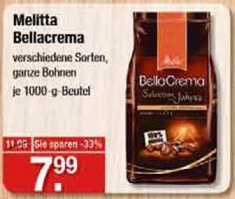 [V-Markt] Melitta Bellacrema 1kg ganze Bohnen, verschiedene Sorten - in München