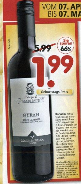 [Segmüller Weiterstadt - evtl. bundesweit] - Rotwein Principe di Granatey - EUR 1,99 (66 % billiger)
