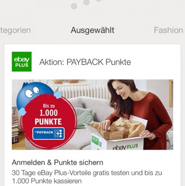 Ebay + für 1 Jahr effektiv für 9.90 anstatt 19.99 durch Payback