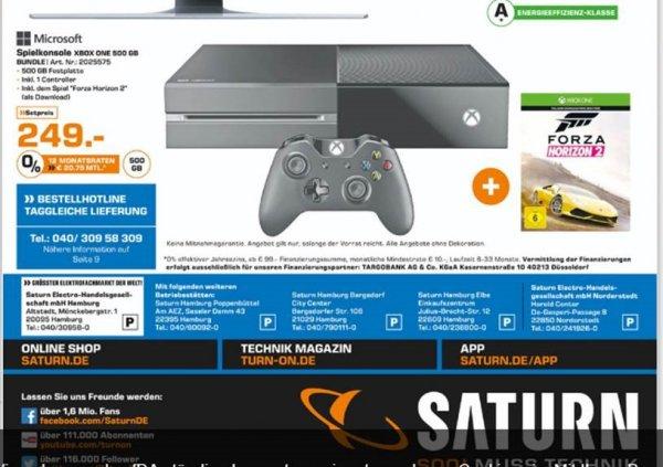 Xbox One 500GB, inkl. 1 Controller + Forza Horizon 2 (als Download) in Saturn Hamburg für €249