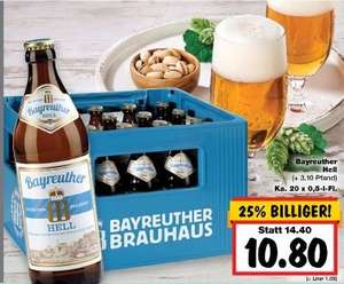 [lokal Kaufland Berlin Biesdorf & Eiche ] Bayreuther Hell 20 x 0,5l für 10,80€  zzgl. Pfand