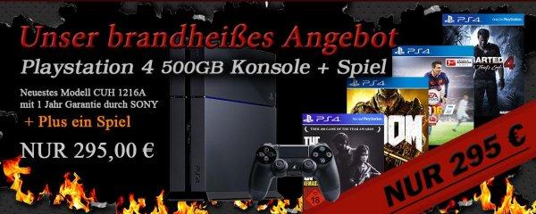 Playstation 4 500GB inklusive ein Spiel z.B Uncharted 4 für 295 €