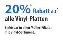 {Müller} 20% auf Vinyl am 15./16. April