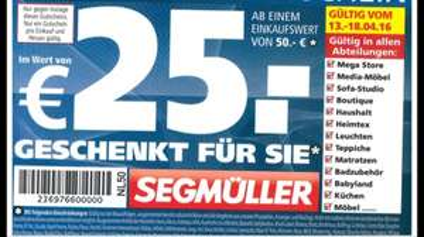 Segmüller 25€ Gutschein