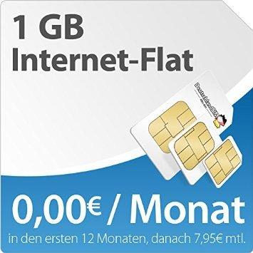 DeutschlandSIM Surfpaket 1 GB Daten Flat, 0,00 Euro/Monat Nur noch 2 auf Lager